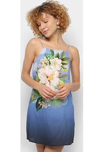 Vestido Curto Farm Flor Solar - Feminino-Azul