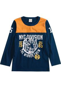 Camiseta Tigre- Azul Marinho & Laranja- Lecimarlecimar