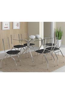 Mesa 387 Com Vidro Incolor Cromada Com 6 Cadeiras 146 Fantasia Preto Carraro