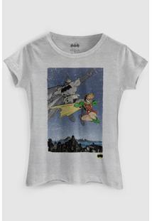 Camiseta Dc Comics Batman E Robin Bandup! - Feminino-Cinza