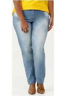 Calça Feminina Jeans Reta Plus Size Uber Jeans