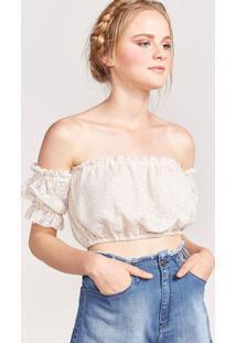Blusa Ciganinha Em Renda - Off Whitepop Up