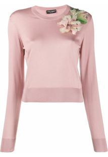 Dolce & Gabbana Suéter Com Bordado - Rosa