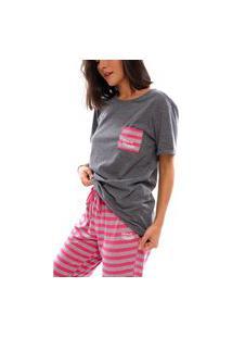 Pijama Moon Magic Manga Curta Grafite/Pink