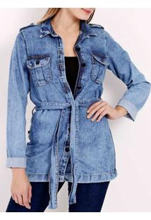 Jaqueta Jeans Alongada Feminina Azul