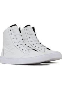 Tênis Couro Sneaker Crazzy - Unissex-Branco