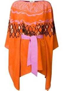 Fendi Vestido Pelerine Em Crepe De Chine - Laranja