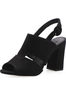 Sandália Feminina Corello Sandal Boot Recortes Couro Nobuck Corello Sandália Preto