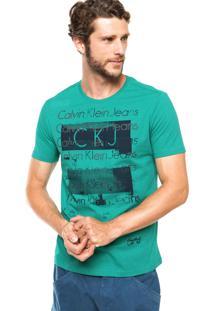 Camiseta Calvin Klein Jeans Estampa Logo Frontal Verde