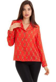 Camisa Kinara Crepe Manga Longa Estampada Feminina - Feminino-Vermelho