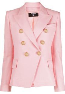 Balmain Double-Breasted Peaked Blazer - Rosa