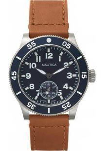 Relógio Nautica Masculino Couro Marrom - Naphst001