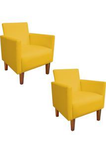 Kit 02 Poltrona Decorativa Compacta Jade Corino Amarelo Com Pés Castanho - D'Rossi