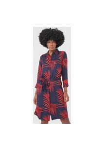 Vestido Chemise Dudalina Curto Foliage Azul-Marinho/Vermelho