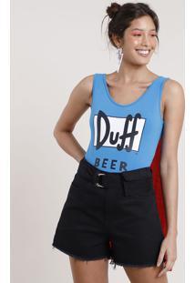 Body Feminino Carnaval Duff Beer Os Simpsons Com Capa Alça Larga Azul