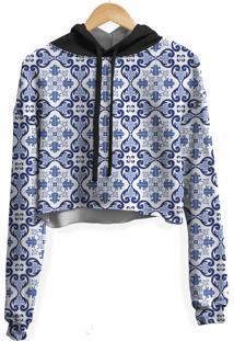 Blusa Cropped Moletom Feminina Overfe Azulejo Português Md01