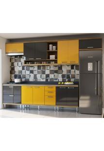 Cozinha Completa 8 Peças Sicília Siena Móveis Argila/Amarelo