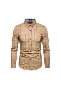Camisa Masculina Xadrez Kansas - Khaki