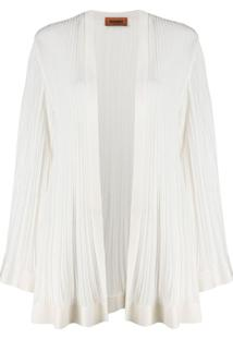 Missoni Micro-Pleated Longline Cardigan - Branco