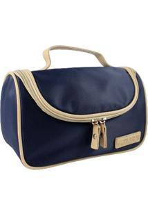 Necessaire Com Gancho Lisa Jacki Design Essencial I Azul Escuro