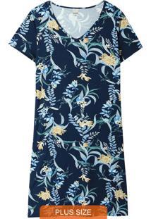 Vestido Azul Curto Tropical Plus