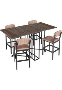 Conjunto De Mesa Retangular Para Sala De Jantar Com 4 Banquetas -Brastubo - Am Negra / Preto