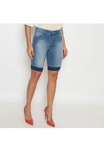Bermuda Jeans Estonada Com Pesponto Aparente- Azul- Sisal