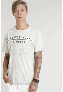 """Camiseta Masculina """"Change Your Mindset"""" Manga Curta Gola Careca Bege Claro"""