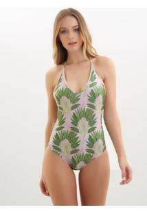 Body Rosa Chá Basic Fan Beachwear Estampado Feminino (Fan, Gg)