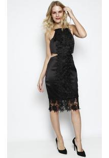 dd584d0b6 R$ 99,99. Privalia Vestido Slim Com Renda- Pretocharry