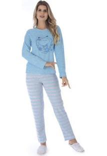 Conjunto Pijama Victory Inverno Listrado Feminino - Feminino-Azul