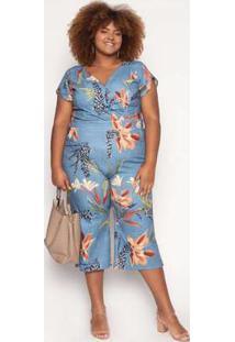 Macacão Almaria Plus Size Quebela Clamart Azul Jeans Azul