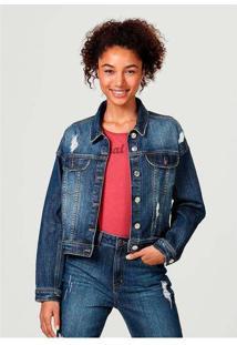 Jaqueta Feminina Em Jeans De Algodão Com Bolso Azu