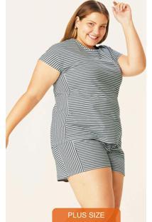 Pijama Cinza Anti Odor Listrado Plus