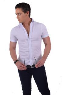 Camisa Social Manga Curta Horus Slim Branca 500201 Branco