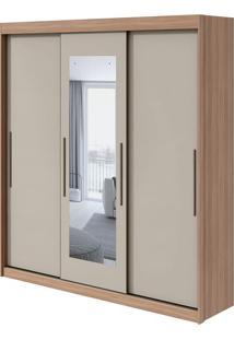 Guarda Roupa Aquarius 3 Portass Com Espelho Carvalho Naturale/Off White