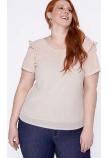 Blusa Almaria Plus Size New Umbi Lisa Rosa