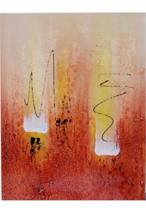 Quadro Artesanal Abstrato 40X50 Vermelho Uniart