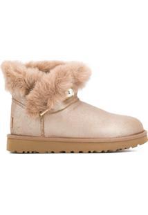 Ugg Ankle Boot Flat Com Pelos - Marrom