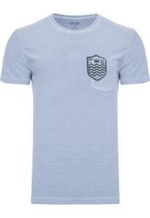 Camiseta Masculina Flamê Bolso Brasão - Azul