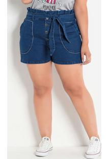 Short Jeans Clochard Plus Size Com Amarração