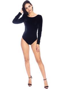 Body Moda Vicio Decote Costas Manga Longa Veludo Preto
