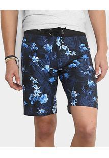 Bermuda D'Água Replay Floral Reta Masculina - Masculino-Azul Escuro