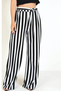 Calça Pantalona Listrada E Amarração Na Cintura