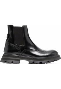 Alexander Mcqueen Ridged-Sole Ankle Boots - Preto