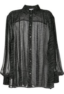 Anine Bing Caleb Silk Zebra Print Blouse - Preto
