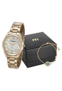 Kit De Relógio Feminino Mondaine Analógico + Pulseira - 83385Lpmvde1K1 Dourado