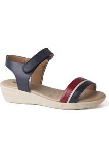 Sandália Feminina Anabela 180 Em Couro Doctor Shoes - Feminino-Marinho