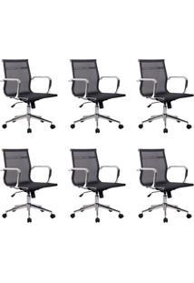 Conjunto Com 6 Cadeiras De Escritório Diretor Giratórias Eames Star Preto