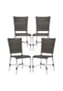 Cadeiras 4Un Para Area Varanda Fibra Sintetica Sala Cozinha Jardim Sacada Romenia - Pedra Ferro
